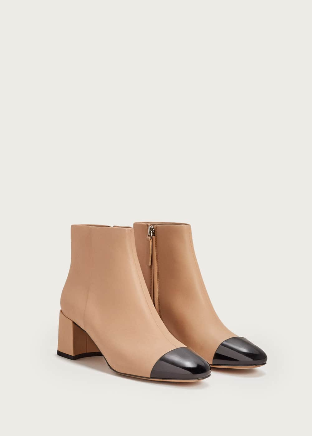 Contrasted tip leather ankle boots | VIOLETA BY MANGO