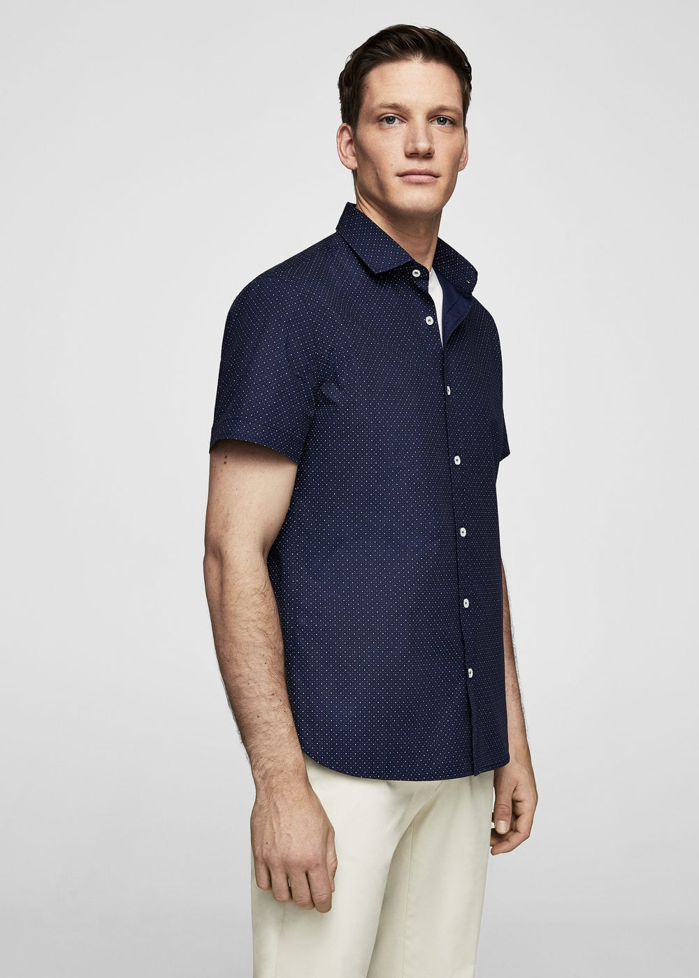 Slim-fit printed cotton shirt | MANGO MAN
