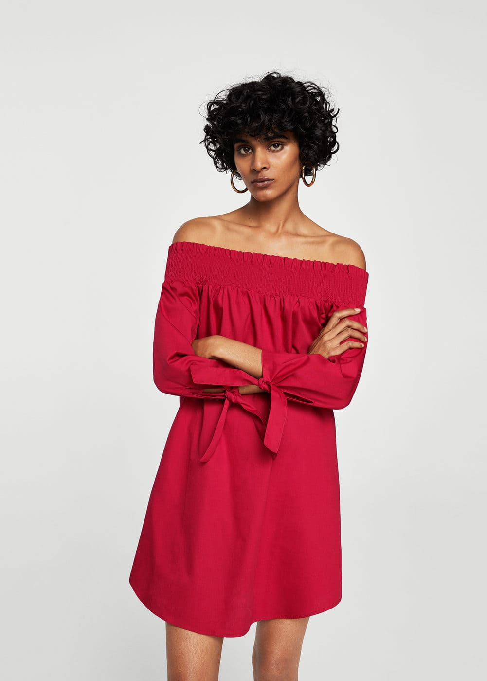 Off-shoulder poplin dress | MANGO