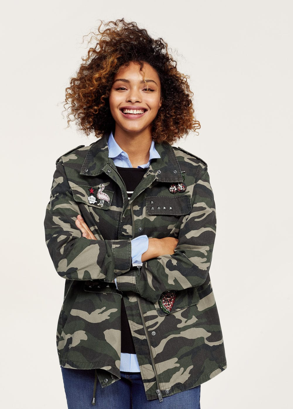 Appliqués camo trench | VIOLETA BY MANGO