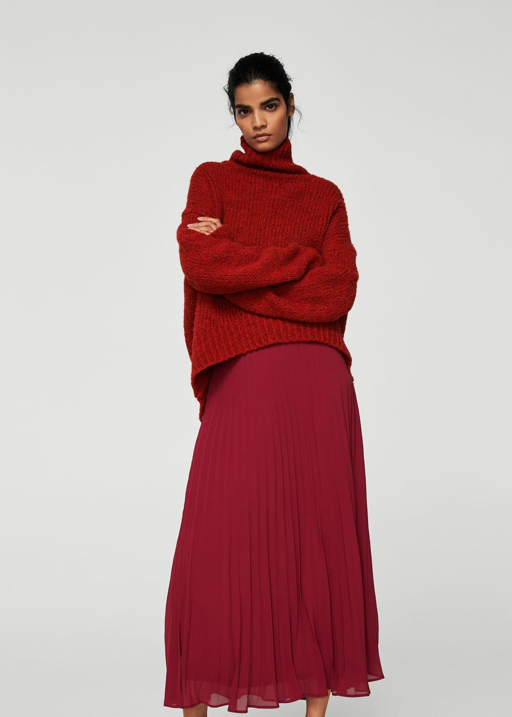 Textured pleated skirt | MANGO