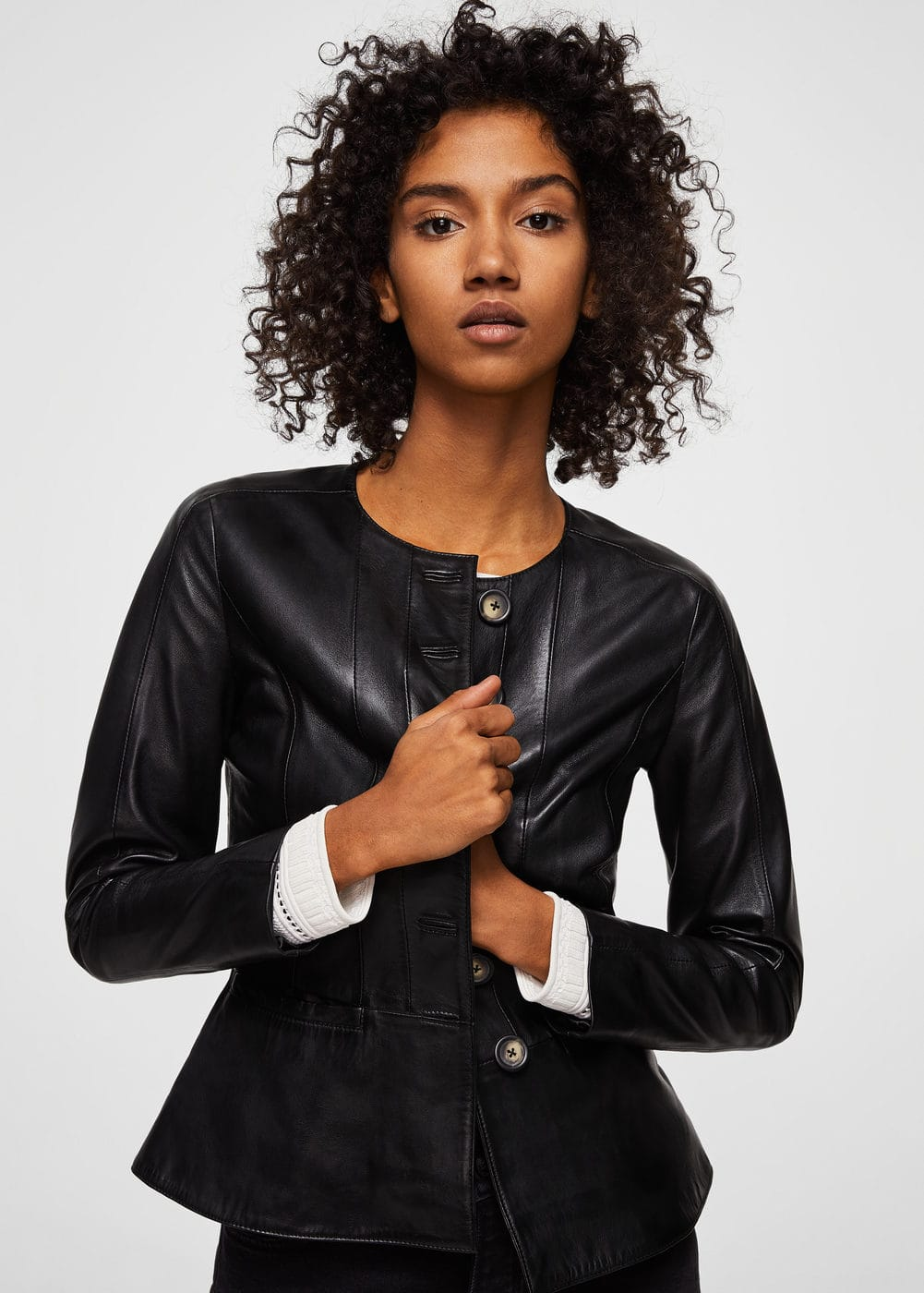 Buttoned leather jacket | MNG