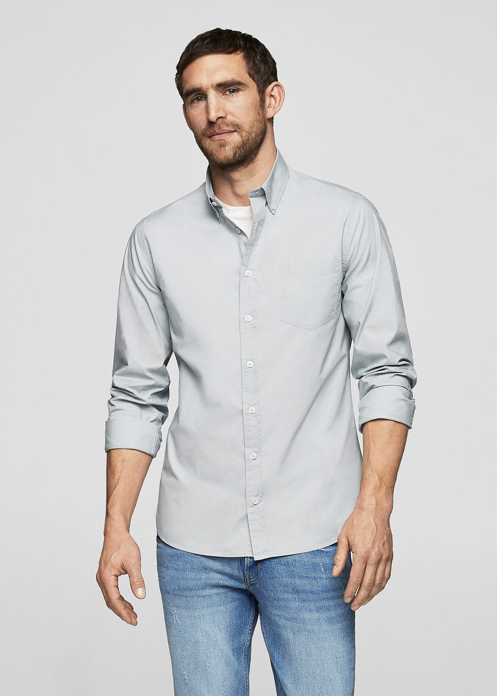 Slim-fit cotton poplin shirt | MANGO MAN