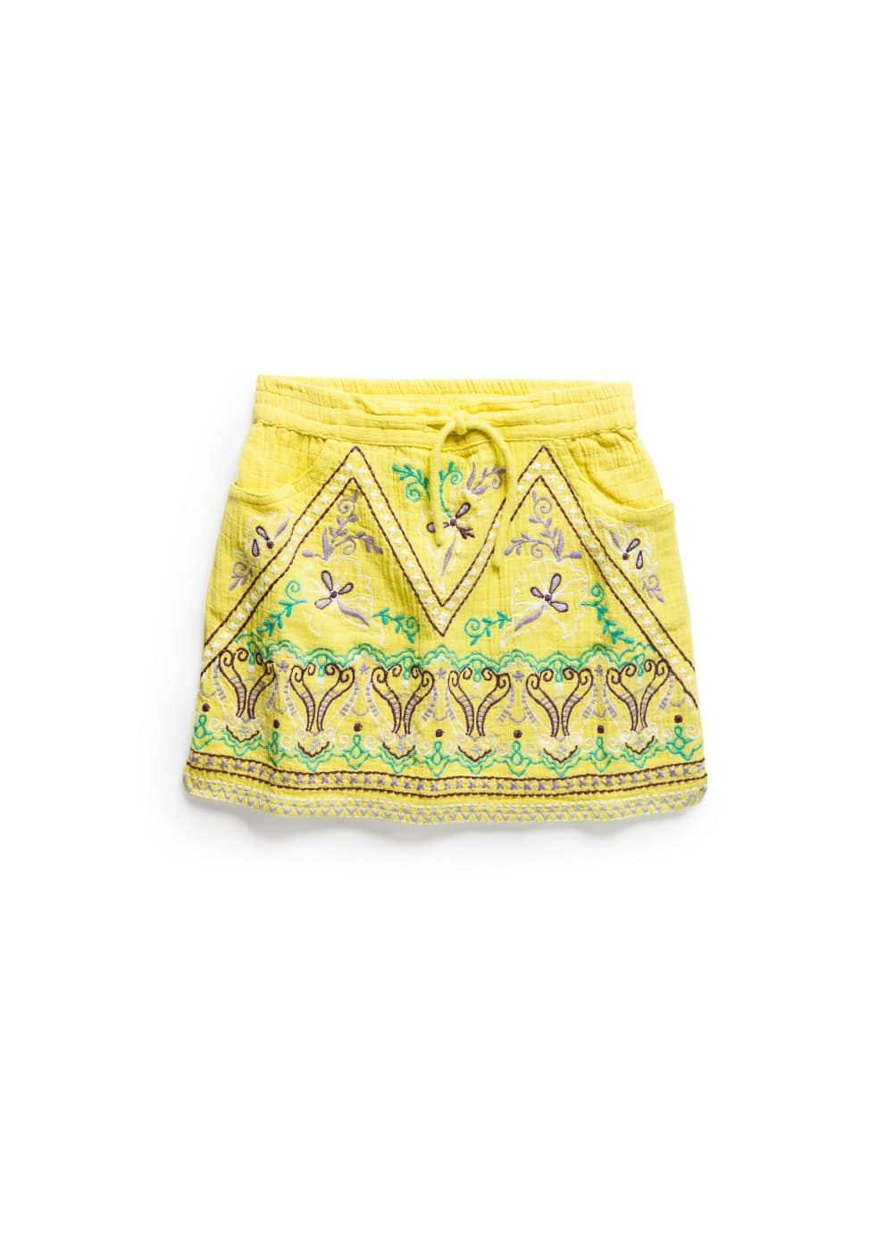 Cotton embroidered skirt | MANGO KIDS
