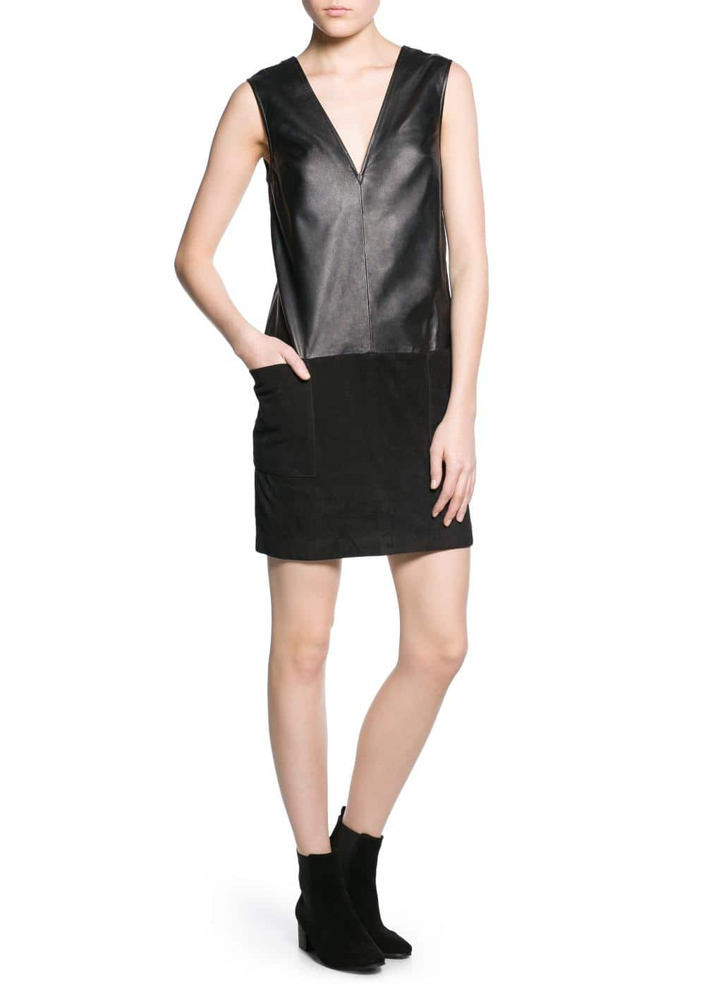Contrast-bodice leather dress | MANGO
