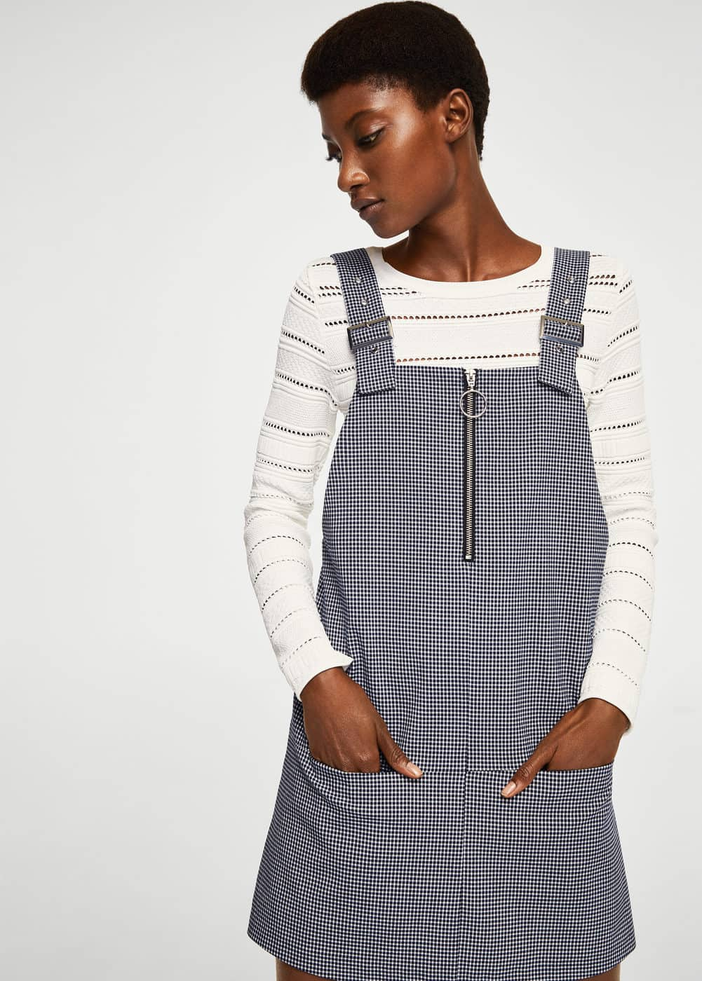 Checkered pinafore dress | MANGO