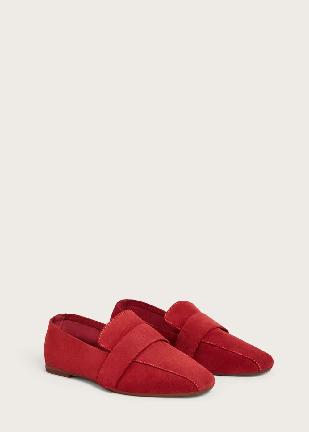 Suede leather loafers | VIOLETA BY MANGO