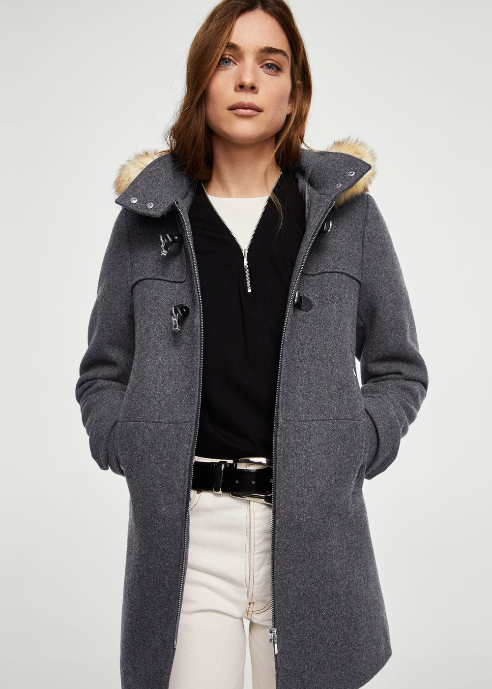 Faux fur hooded coat | MANGO