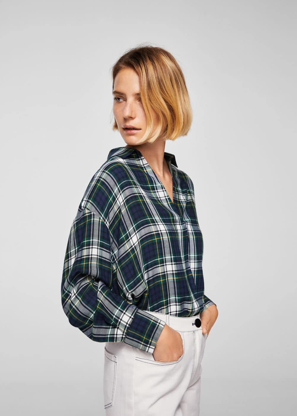Checked print blouse | MANGO