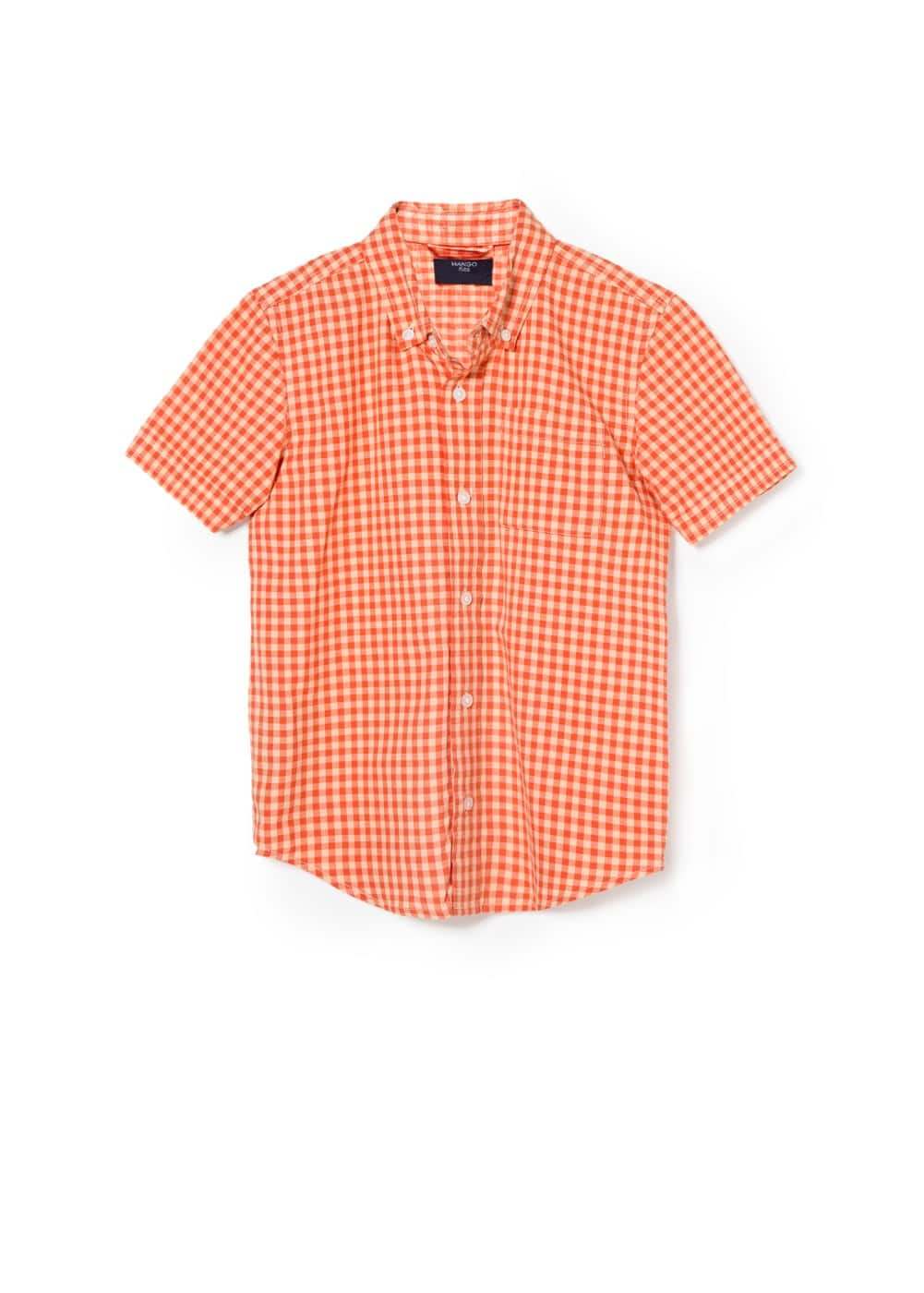 Gingham check short sleeve shirt | MANGO