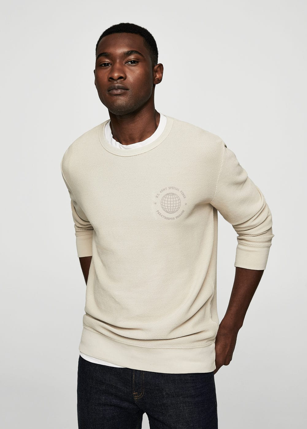Textured cotton-blend sweatshirt | MANGO MAN