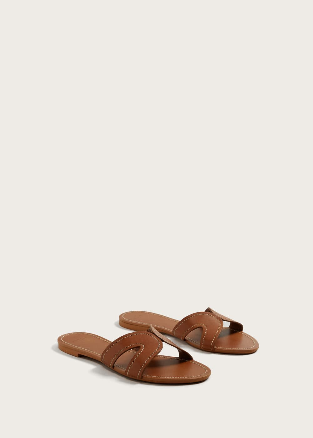 Stich leather sandals | VIOLETA BY MANGO