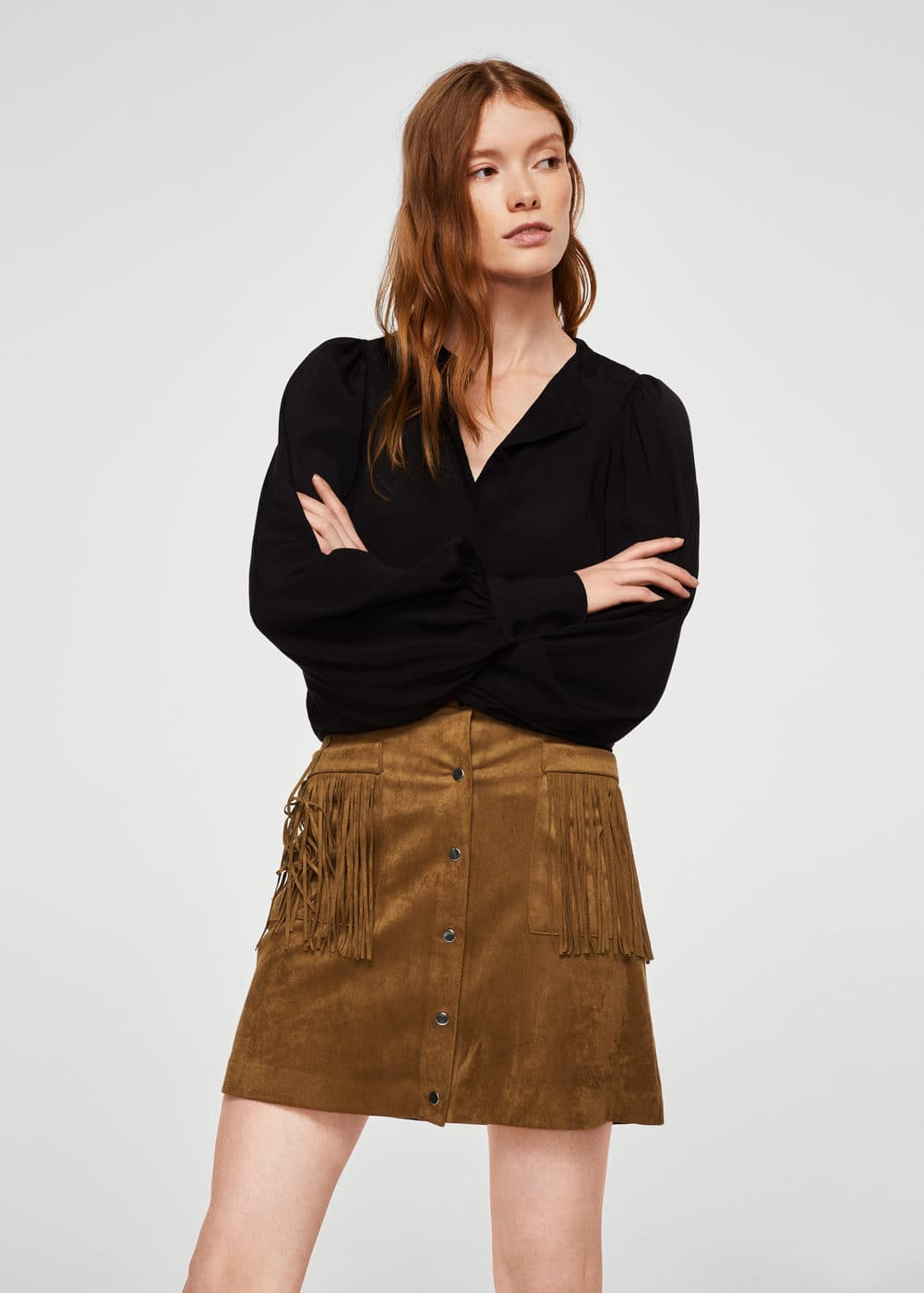Pocket fringed skirt | MANGO