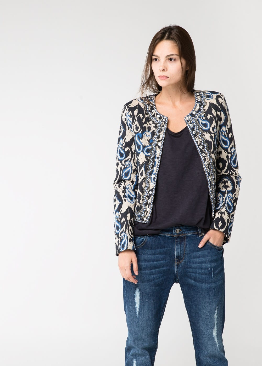 Beaded quilted jacket | MANGO