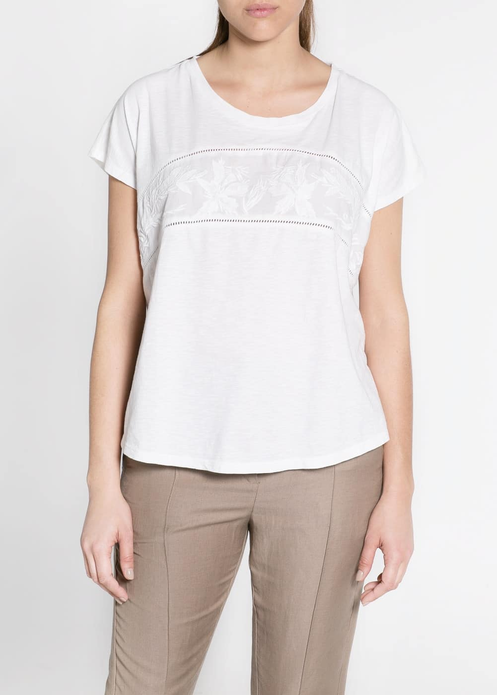 Embroidered cotton t-shirt | MANGO