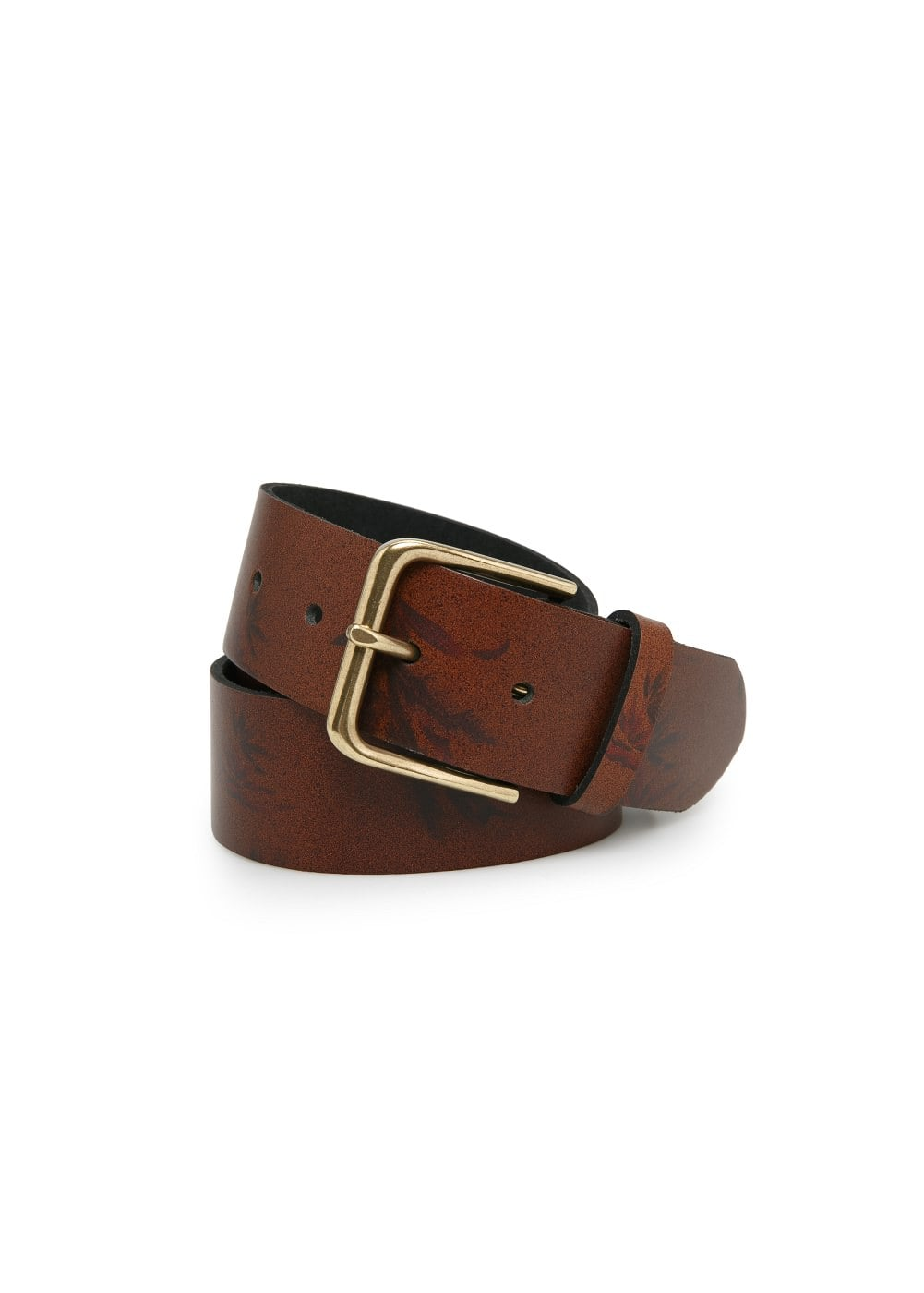 Printed leather belt | MANGO