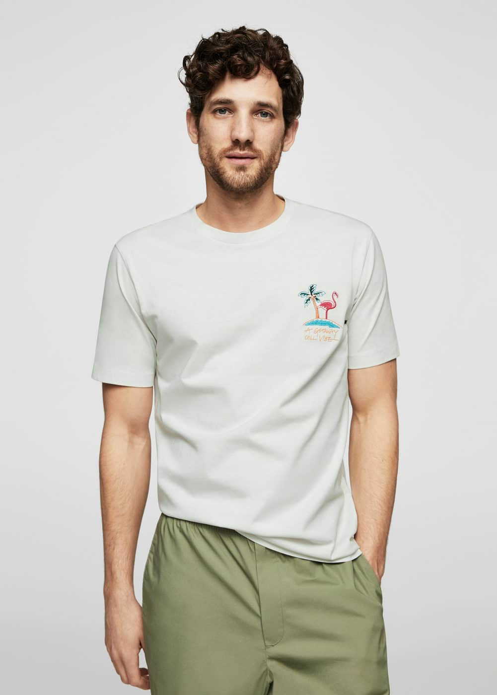 Embroidered detail cotton t-shirt | MANGO MAN