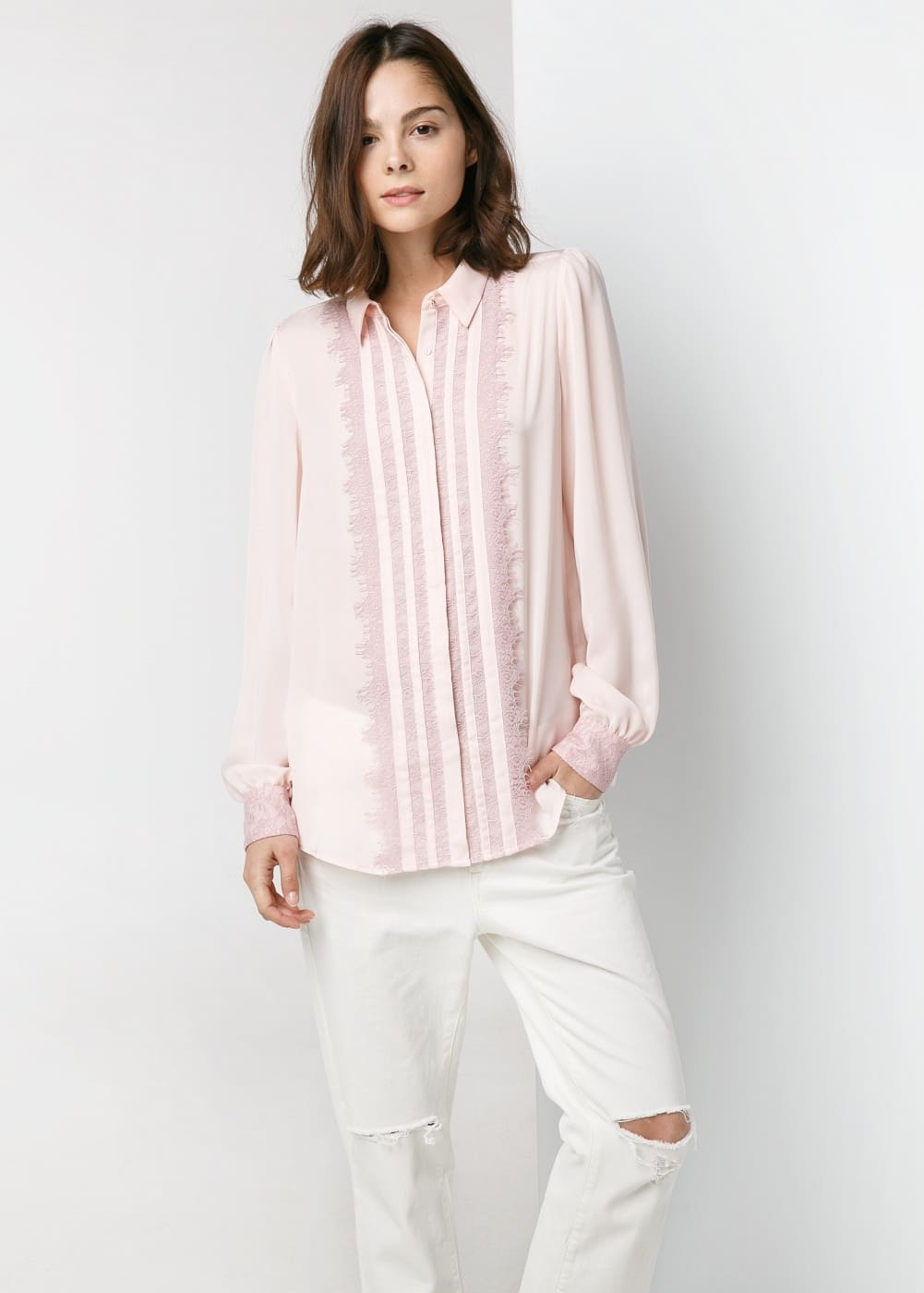 Lace panels shirt | MANGO
