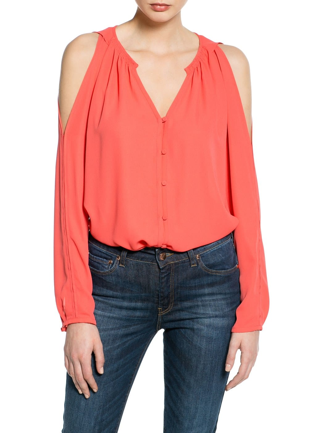 Cut-out flowy blouse | MANGO