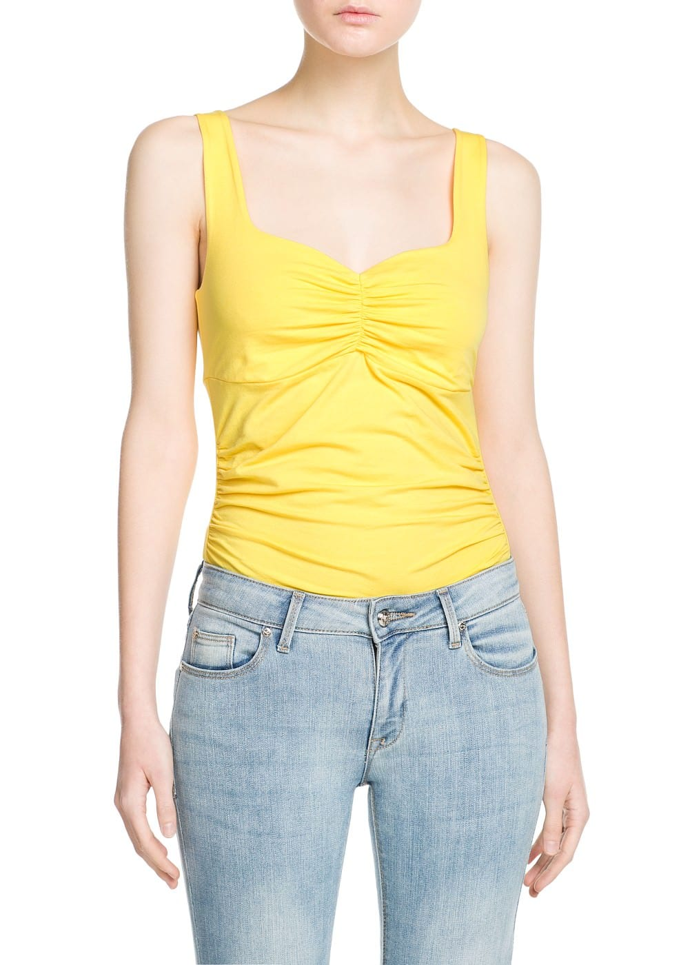 Ruched detail top   MANGO
