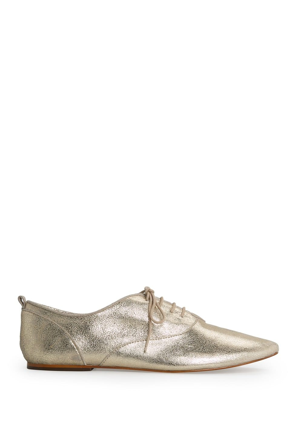 Metallic leather oxford shoes | MANGO