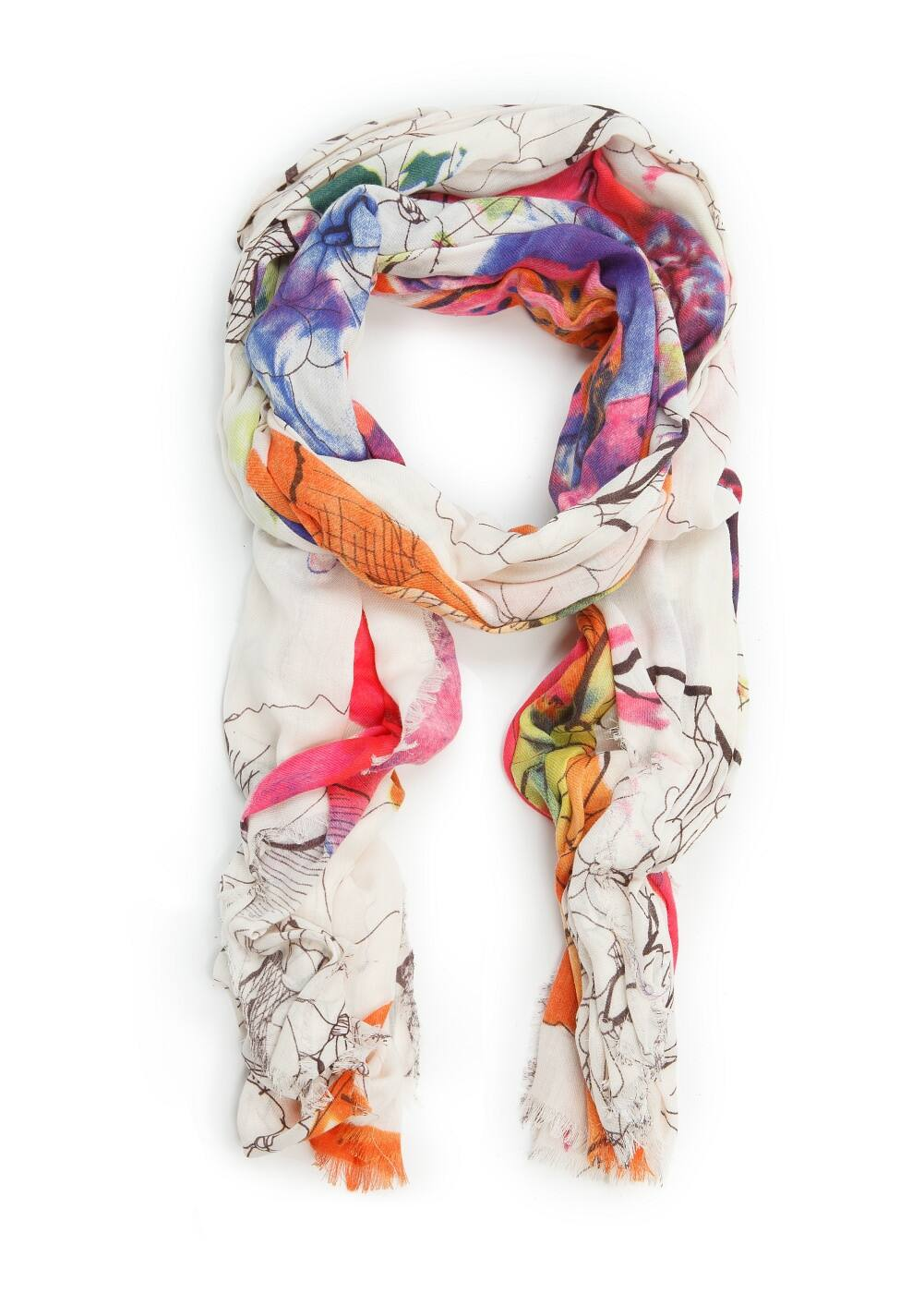 Watercolor floral scarf | MANGO