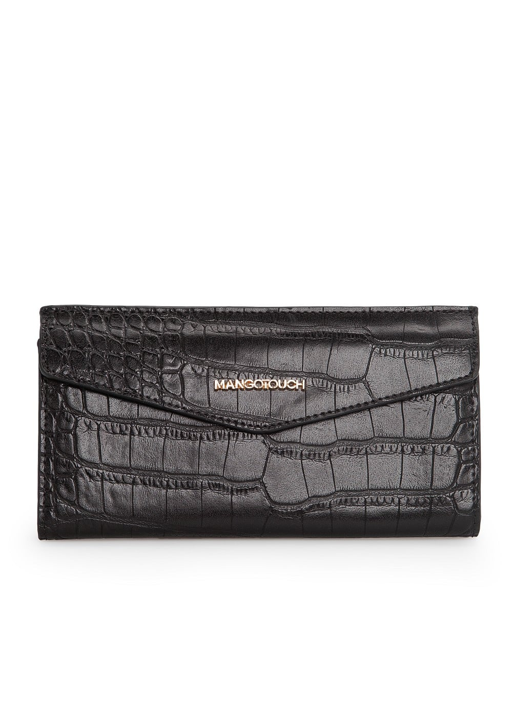 Croc-effect flap wallet | MANGO