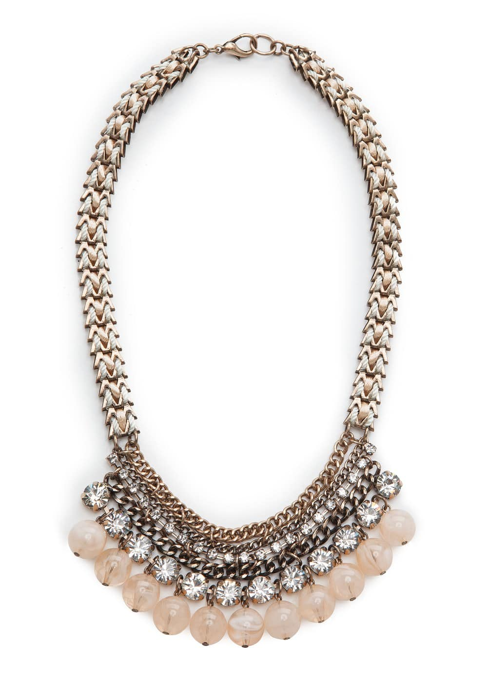 Rhinestone and round bead chocker | MANGO