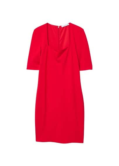 MANGO Squared neckline dress