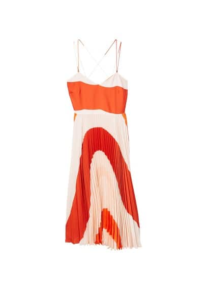 MANGO Pleated bicolor dress