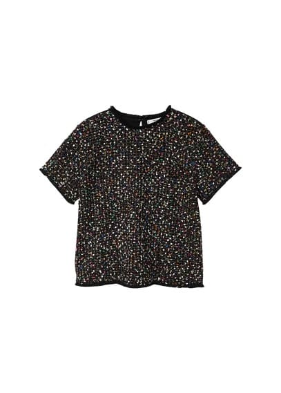 MANGO Tweed contrasting t-shirt