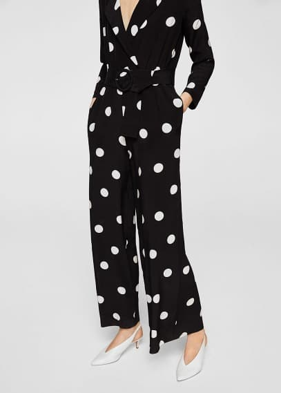MANGO Polka-dot long jumpsuit