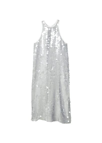 MANGO Sequined halter neck dress