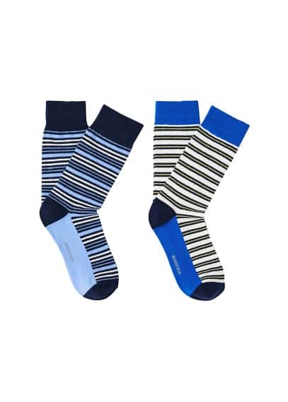 Lot 2 paires chaussettes rayures