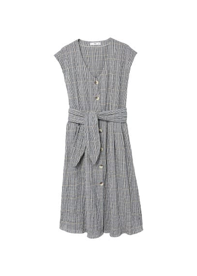 MANGO Check belt dress