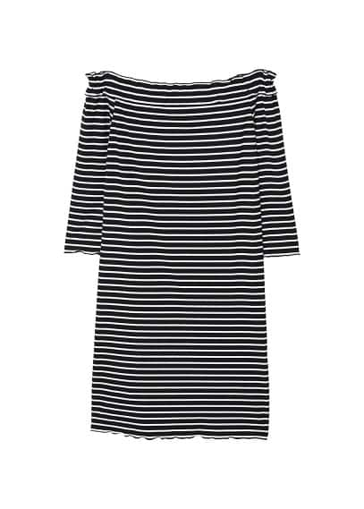 MANGO Off-shoulder striped dress