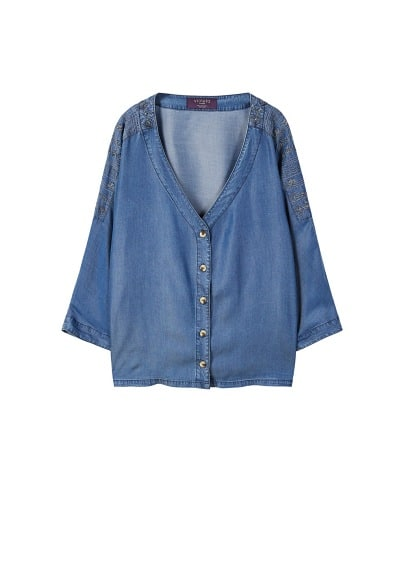 Blouse denim brodée