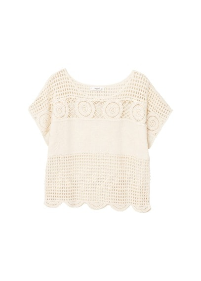 MANGO Crochet detail t-shirt