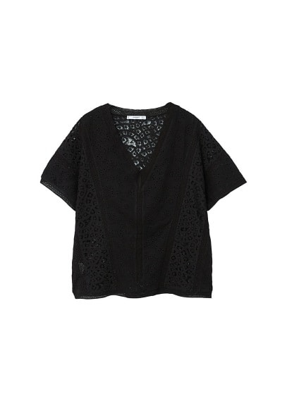 MANGO Openwork cotton t-shirt