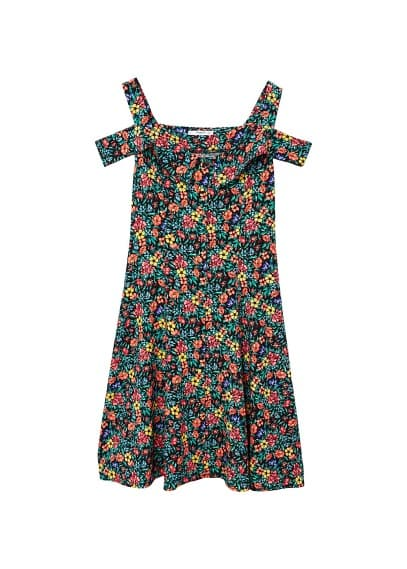 MANGO Flowers cold shoulder dress