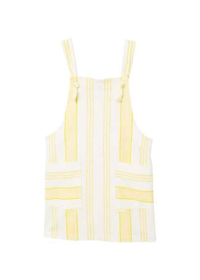 MANGO Two-tone cotton-blend pinafore dress