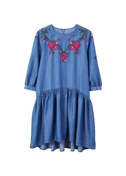 MANGO Embroidery ruched dress