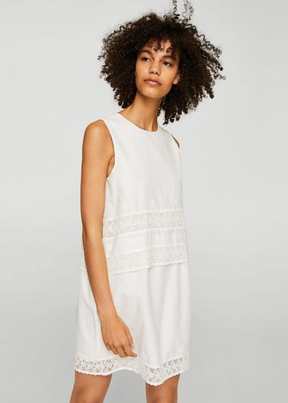 MANGO Guipure panel dress