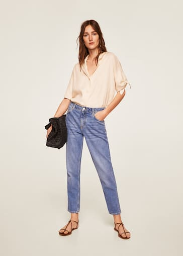 cb23fdaa5b Knots linen shirt - Women | Mango USA