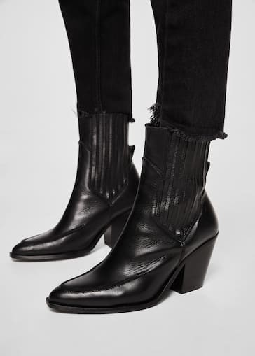 b94cfc16fa1 Leather cowboy ankle boots