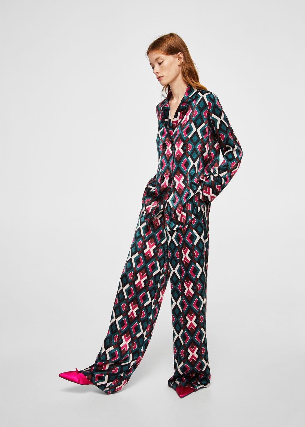 High-waist printed trousers | MNG