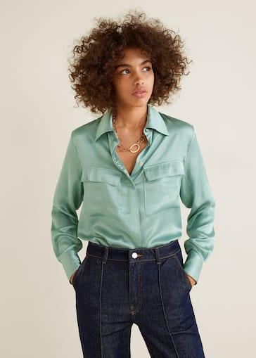 dc0c89354ae Chest-pocket satin blouse