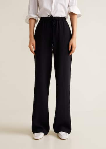 69a63fd721333 Flowy straight-fit trousers - Women