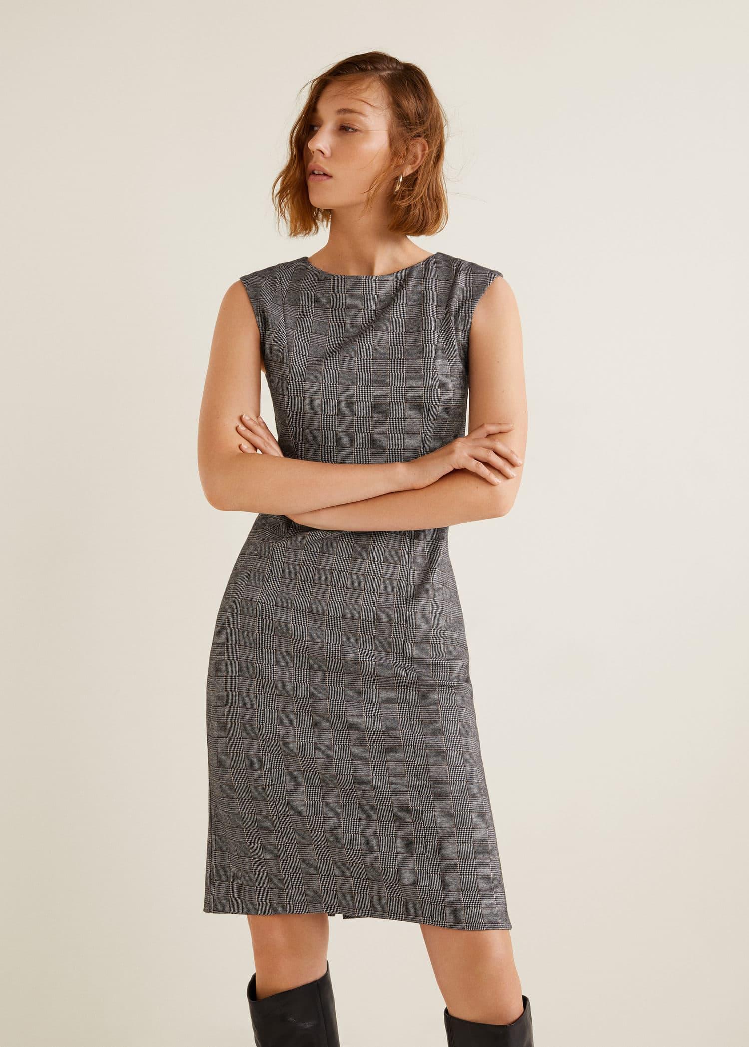 Check pattern midi dress - Woman   MANGO Bosnia-Herzegovina 6fc1dbfaebd7