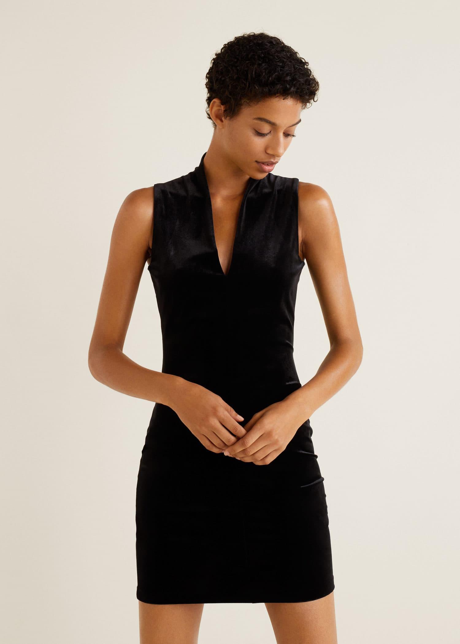 Nouvelle Robe FemmeMango Robe Velours Calédonie PkXOZiu